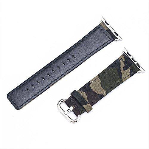 Cuitan Langlebig Leinwand Uhrenarmband für 42mm Apple Watch iWatch, mit Adapter Ersatzband Uhrband Watch Strap Wrist Band Armband Watchband für Apple Watch (Nicht enthalten Uhren) - 4