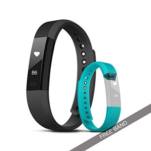 Evershop Fitness Tracker, Orologio Fitness Tracker con cardiofrequenzimetro, Touchscreen e Braccialetti Sottili, contapassi Tracker attività Impermeabile indossabile per Android e iOS - Nero + Verde