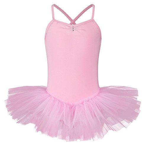 """tanzmuster Tutu de danse """"Kim"""" - bretelles fines croisées dans le dos - 3 voiles de tulle - danse classique - rose, 104/110 5-6 ans"""