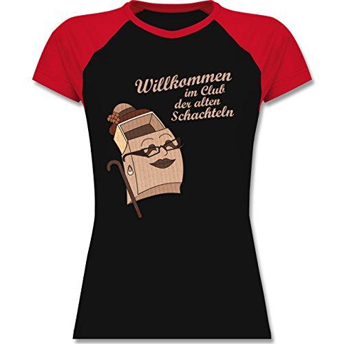 Shirtracer Geburtstag Willkommen IM Club der Alten Schachteln Zweifarbiges  Baseballshirt/Raglan TShirt für Damen Schwarz/Rot