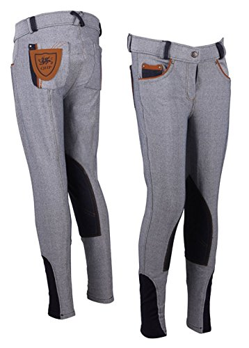 QHP Modell Reithose Minor Claire Jeans Kinderreithose Kniebesatz Farbdetails (140)