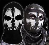 Call of Duty Geister Schädel Maske Balaclava Hood Ghosts Skull Mask MODERN WARFARE COD Sturmmaske Totenschädel mit 2 Öffnungen für die Augen Schwarz