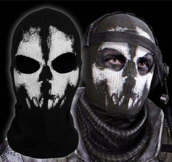 Preisvergleich Produktbild Call of Duty Geister Schädel Maske Balaclava Hood Ghosts Skull Mask MODERN WARFARE COD Sturmmaske Totenschädel mit 2 Öffnungen für die Augen Schwarz