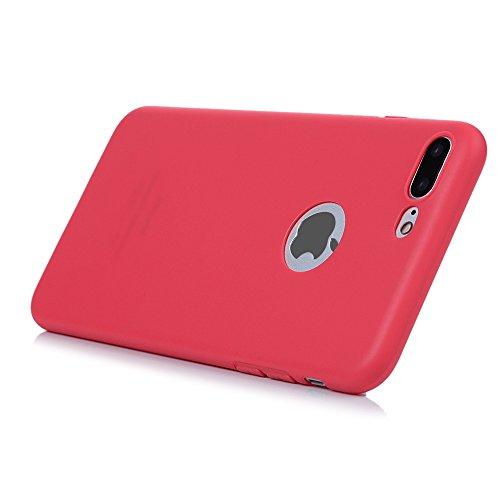"""KASOS iphone 7 Plus 5.5"""" Housse Case Bumper Étui Coque de Protection en TPU Souple Solide de Couleur Silicone Ultra Hybrid Ultra Mince Léger Modèle Dessin Housse Coque pour iphone 7 Plus 5.5"""" -Noir Rouge Pastèque"""