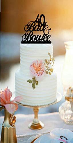 Ethelt5IV Bad Boujee Birthday Cake Topper und Boujee Cake Topper 40. Geburtstagskuchenaufsatz mit Alter Boujeeaufsatz über dem Hügel lustiger Kuchen toppe