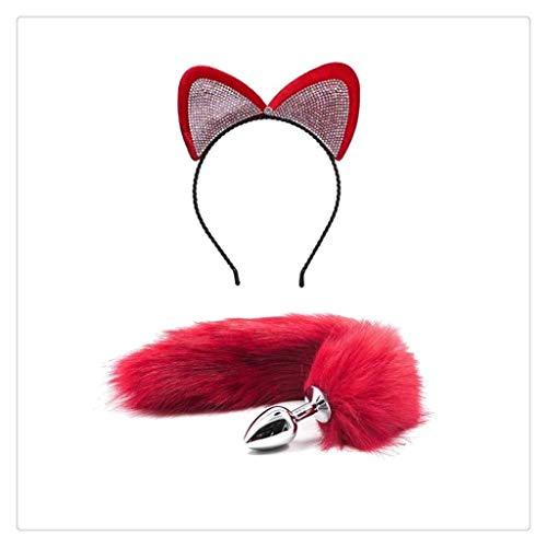 WM-EILIAN Cosplay Glamouröse Diamant Weibliche Mädchen Katzenohren Stirnband (rot) Fuchsschwanz Sling Kostüm