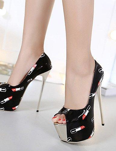 WSS 2016 Chaussures Femme-Habillé / Soirée & Evénement-Noir-Talon Aiguille-Bout Ouvert / Confort-Chaussures à Talons-Polyuréthane black-us6.5-7 / eu37 / uk4.5-5 / cn37