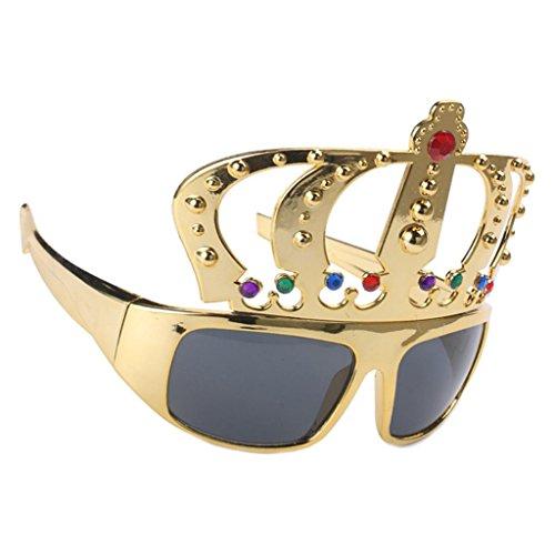 Sharplace Glitzer Gold Partybrille Sonnenbrille Spaßbrille Krone Brille Star Sunglasses Funbrille für Kostüm Party Club Tanz ()
