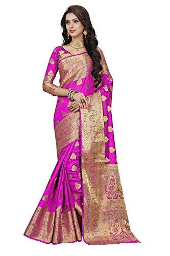 Ramapir Fashion Women's jacquared work Banarasi Silk Saree With unstitched Blouse Piece