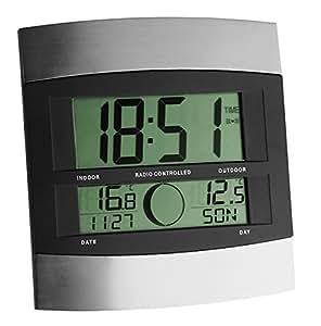TFA Dostmann Digitale Funkuhr, mit Außentemperatur, höchste Genauigkeit, Innentemperatur, Wochentag, Datum, Mondphasen, Alarm mit Snooze-Funktion