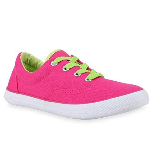 Damen Sneakers Stoff Sneaker Low Muster Basic Animal Print Freizeit Turn Schnürer Schuhe 110536 Pink Neon 39 Flandell