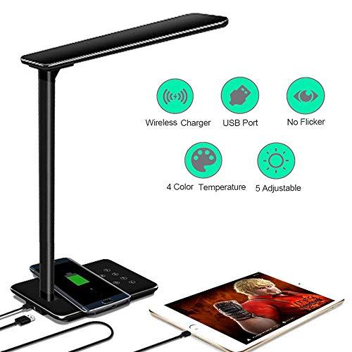 Lámpara Escritorio LED Táctil - Qi Rápida Cargador Inalámbrico para todos los Teléfonos Qi y Puerto...