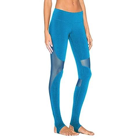 Byjia Women Yoga Pants Run Elasticity Leggings Patchwork Mesh Stretchy Athletic Workout High Waist Fitness Loisirs Rapide En Plein Air En Plein Air Gym Sports Throw Blue L