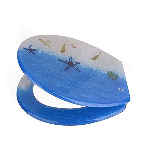 TOILETLIDgg WC-Sitz Blaue und weiße Schale U-Form Universal-WC-Sitz mit Urea-Formaldehyd-Harz Nicht verlangsamt verdickter WC-Deckel Schnellwechsel-Toilettensitz (Wc-sitze Blau)