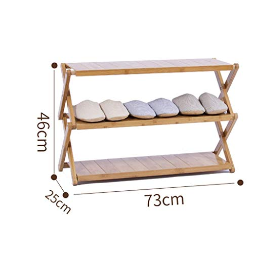 MJK Schuhregale, Bambus Schuhregal Home Folding Schuhhalter Multi-Layer Storage Shelf Erweiterbares Schuhregal, Staubaufbewahrung,EIN,3 Schichten -