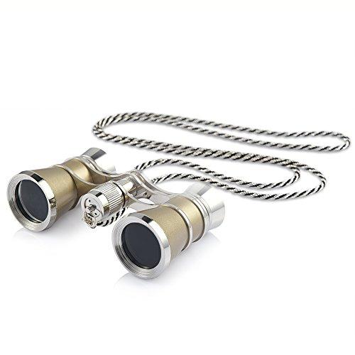 Uarter Opernglas Fernglas mit Kette Mini Binocular 3-fach Vergrößerung Theaterglas Ferngläser für Pferderennen/Opera/Theater, 3X25 (Gold)