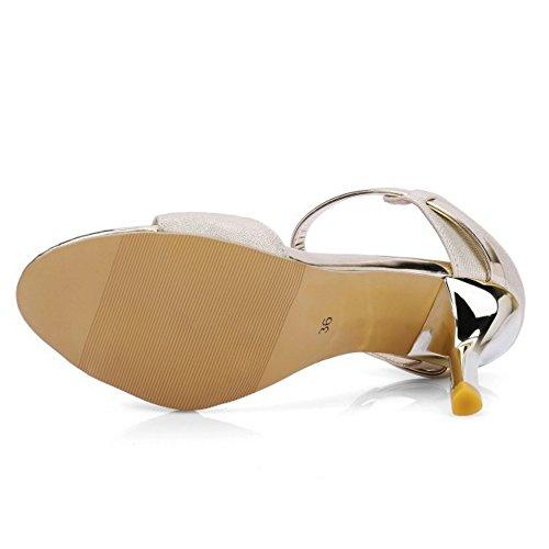 COOLCEPT Femmes Mode Mince Talon hauts Sandales Slingback Chaussures Or
