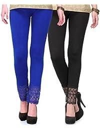 PI World Blue And Black Lace Plazzo Legging( Cotton Lycra-4 Way Stretchable)