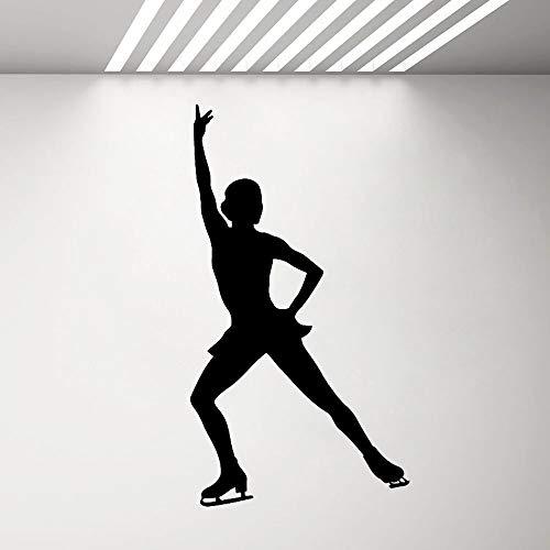 BFMBCH Adesivi murali pattinaggio di figura Vinile Applique Murale Ragazza Stanza Sport Skateboard Decorazione domestica Adesivi murali arte da camera da letto Casa 19 verde 42X76 CM