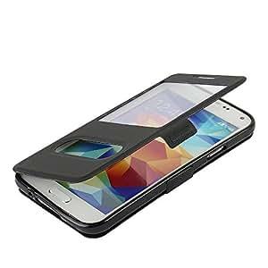 Coque Samsung Galaxy S5, MTRONX Case Cover Etui Housse Poche Cas Couverture Double Fenêtre Vue Ultra Slim Folio Flip Magnetic Twill PU Cuir Sergé Soutien étagère pour Samsung Galaxy S5 - Noir(MS2-BK)