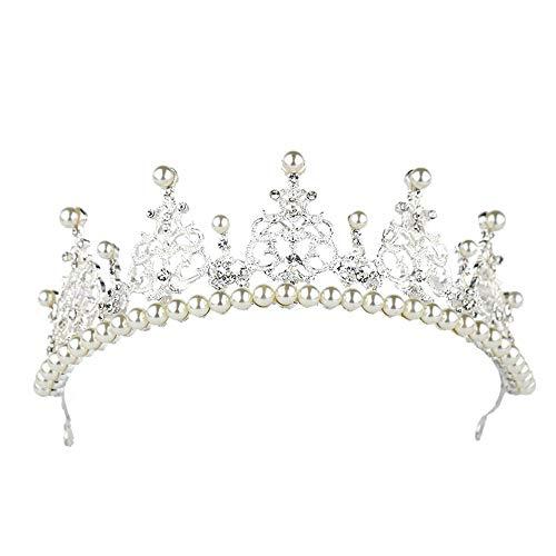 Wehugonua Hochzeit Braut Crown Tiaras Sparkle Imitation Pearl Stirnband Frauen Kopfschmuck Prinzessin Crown Kopfschmuck Hochzeit Krone Braut Prinzessin Kopfschmuck (Color : Silver, Size : 27 * 6cm)