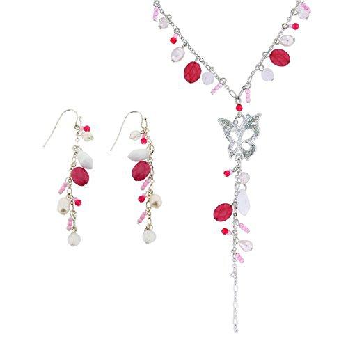 Rosa a forma di farfalla Collana e Orecchini pendenti Set Regalo-The Olivia Collection