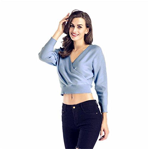 a Maniche Lunghe Scollo Profondo a V Incrocio a Portafoglio Avvolgente Davanti corti corto Crop Pullover Sweater Maglione Maglia Jumper Superiore Top Blu