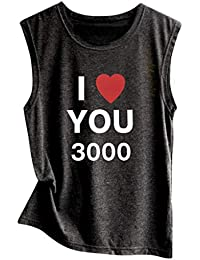 Iron Man,Thanks Tony,I Love You 3000 (3 Thousand) Avengers Endgame Superheroes Fans T Shirt, Printing Tees for Women Couple Sleeveless Loose Tops Blouse Vest