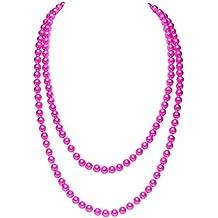 Damenschmuck Hals-Kette Perlenkette Rund Kunststoff Weiß Rosa Pink Mehrfachkette