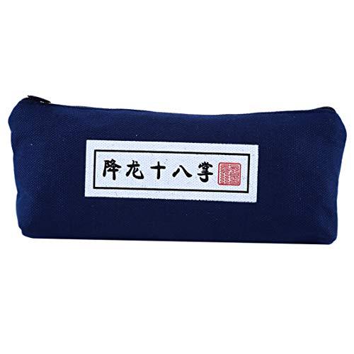 Chinesische Kung Fu Cheats Muster Bleistift Leinwand Aufbewahrungstasche Federmäppchen Schreibwaren Tasche, Stil 2 ()