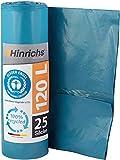 Hinrichs Müllsäcke 120L Blau - Extrem Reißfest - 25 Stück - Typ 100 Extra - Müllbeutel 120 L - 70 µ - 700x1100 mm - LDPE - Blauer Engel zertifiziert