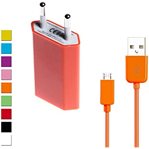 wortek Set de carga universal micro USB, Cargador EU, Adaptador Enchufe + cable micro USB 1m–Diferentes
