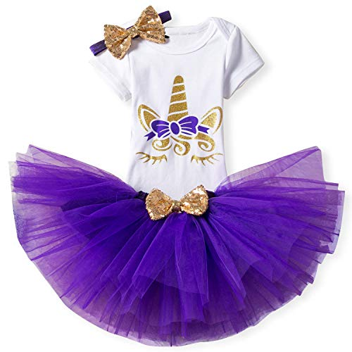 TTYAOVO Baby Mädchen 1. Geburtstag Prinzessin Tütü Rock Kleidung 3 Stück Set Outfits Strampler + Rock + Stirnband (+ Leggings) 4-24 Monate Lila 10-18 Monate (Rock Konzert Kostüm)