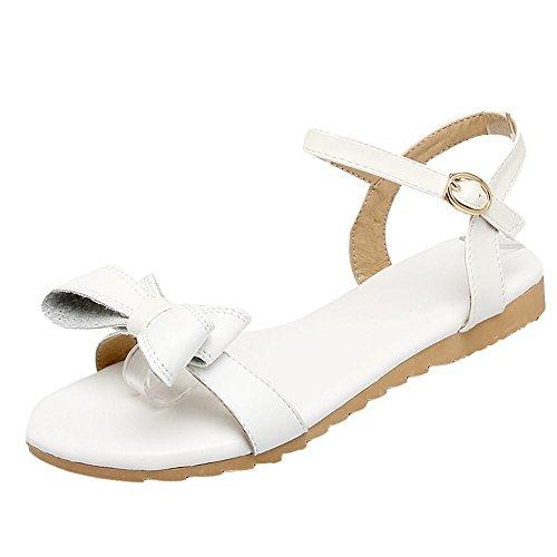 Mee Shoes Damen süß flach mit Schleife Slingback Sandalen Weiß