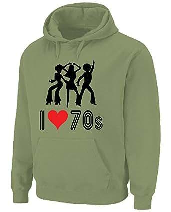 I Love The 70s Hoodie (choice of colour) (Small, Khaki)