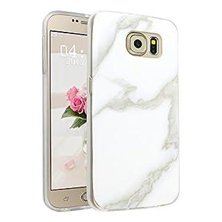 Handyhülle für Samsung Galaxy S6, Asnlove Ultra Dünn TPU Silikon Hülle Case Cover Marmor Motiv mit IMD Schale Backcover Tasche Schutzhülle für Samsung Galaxy S6 G920F, Weiß