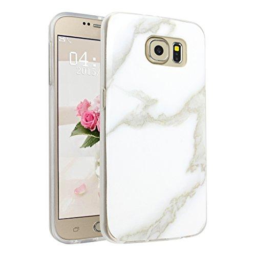 Preisvergleich Produktbild Handyhülle Galaxy S6 Marmor, Asnlove Silkon Galaxy S6 G920 Marble Hülle Silicone TPU mit IMD Schale Case Cover Tasche Schutzhülle für Samsung Galaxy S6 G920F, Weiß
