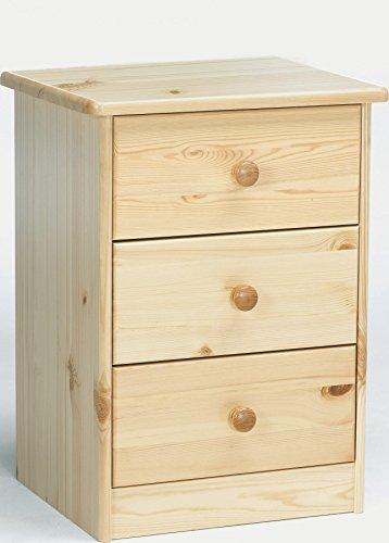Erst-Holz® 90.20-K03 Elke Nachttisch Kiefer massiv 3 Schubläden (Kiefer-holz-nachttisch)