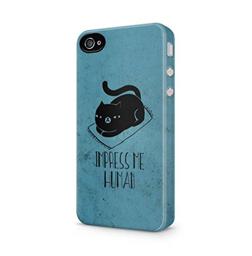 Maceste Black Cat Impress Me Human Kompatibel mit iPhone 4 / iPhone 4S SnapOn Hard Plastic Phone Protective Fall Handyhülle Case Cover