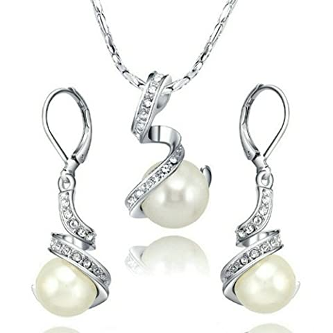 Yoursfs Vintage Crystal Pearl Earrings and Necklace Set for Women