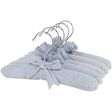 Neoviva Denim tessuto Coat Hanger Set con legno e spugna imbottita per neonati, bambini, mamma e papà, confezione da 5, Tessuto, Solid Skyway Blue, 10.2