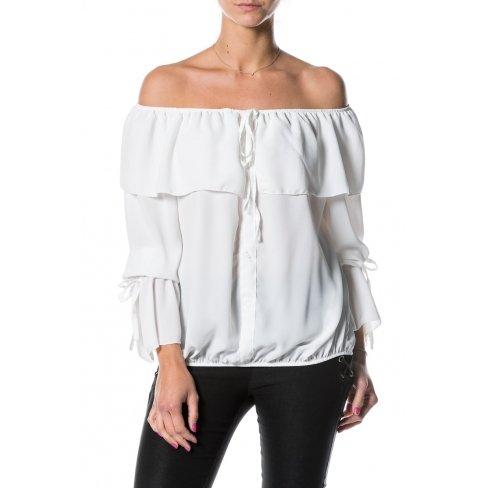 Princesse boutique - Chemisier BLANC épaules dénudées Blanc