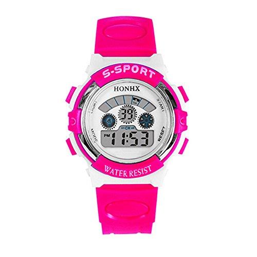 Honhx orologio da polso digitale da ragazza a fascia, in gomma, multifunzionale, illuminazione, datario, sveglia, sport, impermeabile, colorerosa-rosso