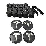 Set van 4 naafdoppen velgdoppen wielnaafdoppen voor Tesla model S X 3 Schwarz und Silber -