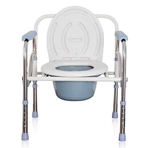 Toilettenstuhl, zusammenklappbar WC-Sitz höhenverstellbar Mobilität Behinderung Hilfe Badezimmer Kommode Stuhl -