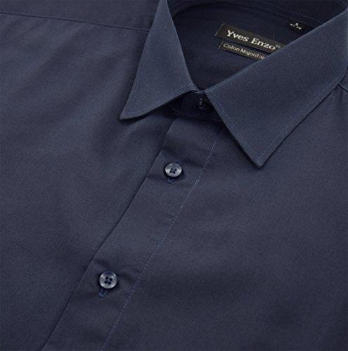 ENZO Camicia Uomo Classica Regular Fit Confortevole e Elegante con Maniche Lunghe da S a XXL Popeline marino
