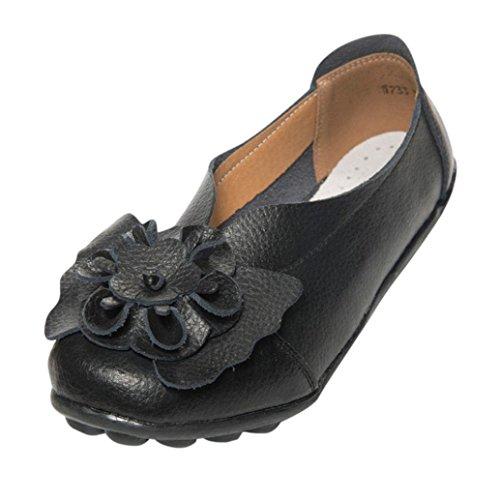 Lazzboy Damen Herbst Schuhe Freizeit Lady Flach Sandalen Leder Knöchel Slipper Soft Schuhe (Schwarz,39)