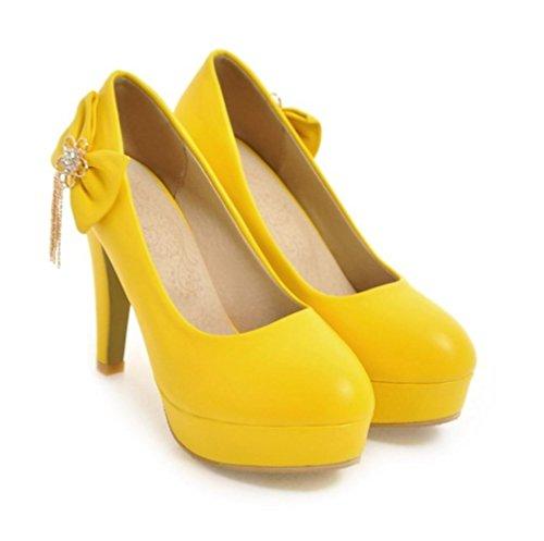Coeur & M Couleur En Cuir Pu Premium Bowknot Métal Solide Gland Rond-point 11cm Talons Hauts Chaussures Jaune