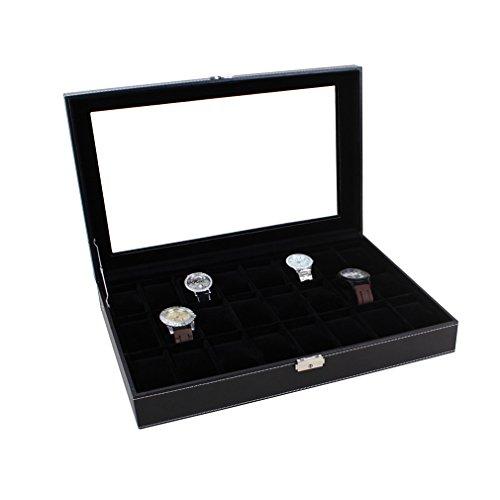 Preisvergleich Produktbild Uhrenbox Uhrenkoffer Herren Frauen Uhrenkasten für 24 Uhren Uhrenschatulle aus Kunstleder Uhrenvitrine in Voll Schwarz