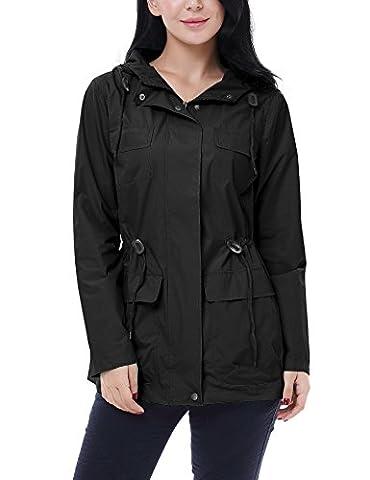 Vessos Femme Vestes Coupe-Pluie Manteaux Imperméables à Capuche Pliable Casual Manches Longues